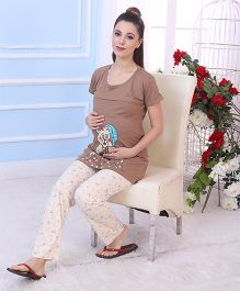 Red Rose Maternity Night Suit - Brown