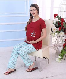Red Rose Maternity Night Suit - Maroon Blue