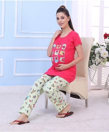 Red Rose Maternity Night Suit - Fuchsia Green