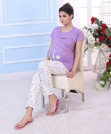 Red Rose Maternity Night Suit - Lavender White