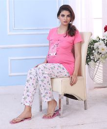 Red Rose Maternity Night Suit - Pink White