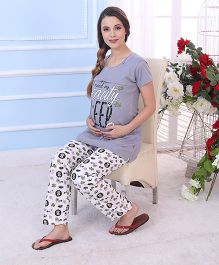 Red Rose Maternity Night Suit - Grey White