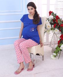 Red Rose Maternity Night Suit - Royal Blue Pink