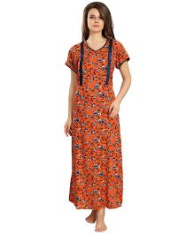 Eazy Short Sleeves Maternity Nursing Nighty - Orange