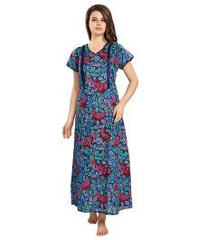 Eazy Short Sleeves Maternity Nursing Nighty - Blue
