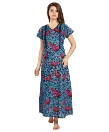 Eazy Short Sleeves Maternity Nursing Nighty - Blue