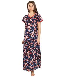 Eazy Short Sleeves Maternity Nursing Nighty Floral Print - Blue