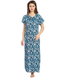 Eazy Short Sleeves Maternity Nursing Nighty - White Blue