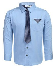 ShopperTree Full Sleeves Solid Colour Shirt - Blue