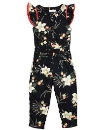 ShopperTree Flutter Sleeves Jumpsuit Floral Print - Black