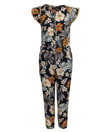 ShopperTree Cap Sleeves Jumpsuit Floral Print - Black