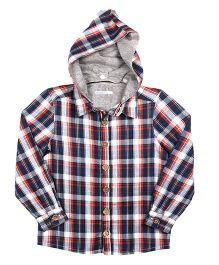 ShopperTree Full Sleeves Hooded Check Shirt - Blue Orange