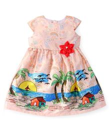 Yellow Duck Cap Sleeves Party Wear Frock Flower Applique - Peach