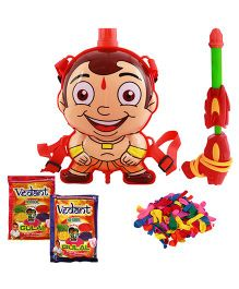 DealBindaas Chhota Bheem Water Gun Back Pack Tank Squirter With 2 Pack Of Gulal Multi-Color