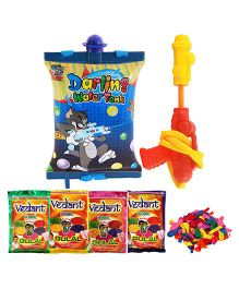 Tom And Jerry Water Gun With 4 Pack Of Gulal - Multi Color