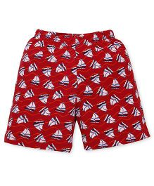 Bodycare Shorts With Allover Boat Print - Dark Red