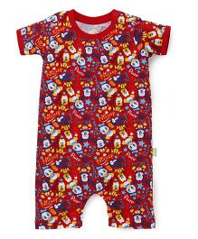 Bodycare Short Sleeves Romper Cartoon Print - Red