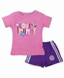 Bodycare T-Shirt And Shorts Set I Love Mummy Print - Purple Pink
