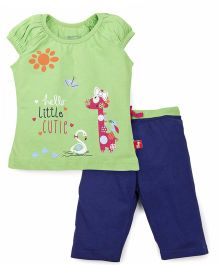 Bodycare Puff Sleeves Top And Leggings Set little Cutie Print - Green Blue