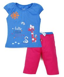 Bodycare Puff Sleeves Top And Leggings Set little Cutie Print - Blue Pink