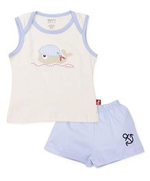 Bodycare Sleeveless Top And Shorts Set Fish Embroidery - Blue White