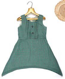 Marshmallow Asymm Gingham Checkered Dress - Green