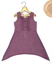 Marshmallow Asymm Gingham Checkered Dress - Purple