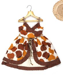 Marshmallow Fit N Flare Overlap Apple Printed Dress - White & Brown