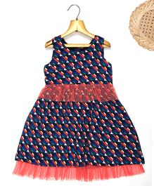 Marshmallow Digital Printed Dress With Frill At Bottom - Navy Blue
