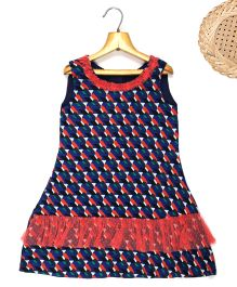 Marshmallow Digital Printed Dress With Frill At Bottom & Neck Line - Navy Blue