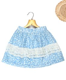 Marshmallow Printed Frill Skirt With Attached Lace  - Blue