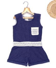 Marshmallow Printed Jumpsuit With Attached Cutwork Lace At Waist & Pocket  - Blue