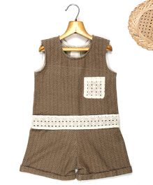 Marshmallow Printed Jumpsuit With Attached Cutwork Lace At Waist & Pocket  - Mustard