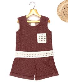 Marshmallow Printed Jumpsuit With Attached Cutwork Lace At Waist & Pocket  - Wine
