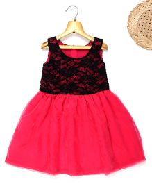 Marshmallow Fit N Flare Dress With Attached Lace Bodice - Dark Pink