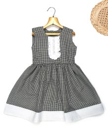 Marshmallow Fit N Flare Dress With Attached Lace At Front - Black