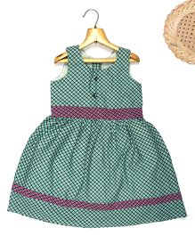 Marshmallow Fit N Flare Checkered Dress  - Green