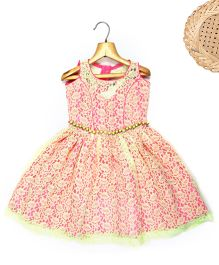 Marshmallow Fit N Flare Lace Dress With Attached Waist Band - Neon Yellow