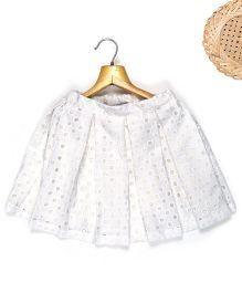 Marshmallow Flared Cutwork Boxpleat Skirt - White