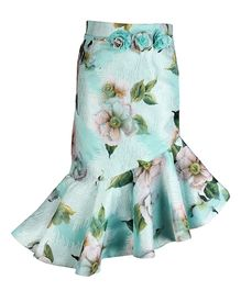 Cutecumber Floral Printed Asymmetrical Style Skirt - Sea Green