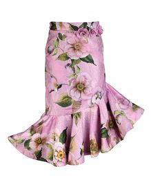 Cutecumber Floral Printed Asymmetrical Style Skirt - Purple
