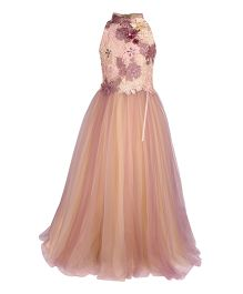 Cutecumber Sleeveless Party Wear Gown Floral Applique - Peach Purple