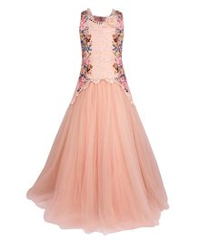 Cutecumber Sleeveless Party Wear Gown Floral Print - Peach