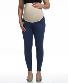 Kriti Maternity Leggings With Pocket - Navy Blue