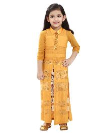 Tiny Baby Sleeveless Lace Cape Top With Multi Coloured Flower Print Full Length Jegging - Mustard