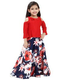Tiny Baby Trendy Cold Shoulder Top With Mutli Coloured Flower Printed Long Skirt - Red