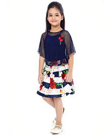 Tiny Baby Top & Box Pleat Floral Skirt With A Separate Inner - Navy Blue