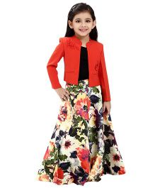 Tiny Baby Embellished Jacket  & Floral Print Long Skirt - Rust