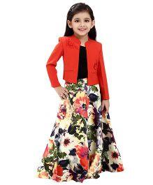 Tiny Baby Embellished Jacket  & Floral Print Long Skirt - Rust