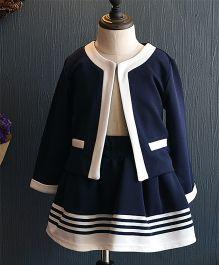 Wonderland Elegant Coat & Striped Skirt - Dark Blue